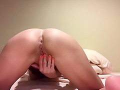 Natalia Aleksei Strips, Then Fingers Pussy and Ass with Reverse View