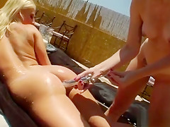 Slutty Lesbians Fill Up Their Big Bootys With Cream And Burs