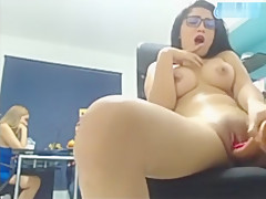 MARTINA Squirt in the office in front of the cam with the coworkers inside