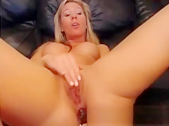 Sexy Blonde Busty Rubs Clit