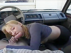 She gives her boyfriend a blow job during her cigarette break.