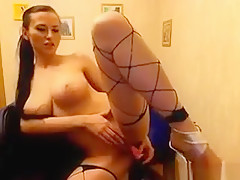 Busty Girl With Stockings And High Heels On