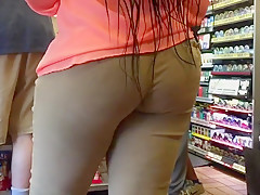 Thick Ebony Booty and Thighs Tan Leggings