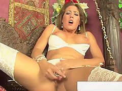 Capri Fucks Her Pussy In Some Hot White Lingerie
