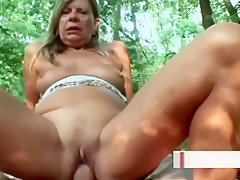 Lonely Gilf Is Handling A Meaty Penis Outdoors