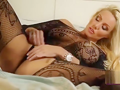 Dannii harwood rubs pussy in black lingerie