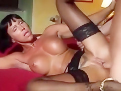 Incredible buxomy lady is making dude cum