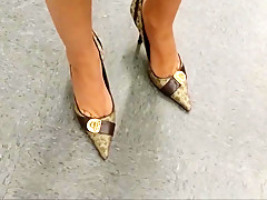 sexy heels dipping in gucci store and at home
