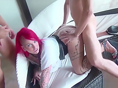 German Big Tit Redhead Tattoo Milf Seduce To Fuck By Two Boy
