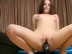 Teen rides monster black dildo