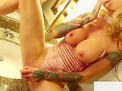 Busty Milf Worships Her Body In The Mirror Then Makes
