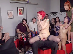 Redhead Slave In Stockings Banged In Bar