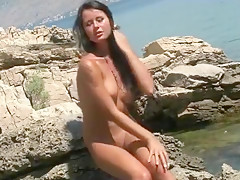 Euro Teen gets naked by the beach
