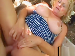 Busty Blonde Granny Stally Gets Filled Outdoors