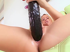 Sexy Blonde Minx And Two Big Dildos