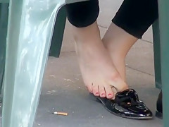 Candid shoeplay barefoot in moccasin and flats