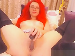 Cute Redhead Babe In Glasses Toys Her Pussy
