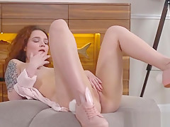 Teen Redhead Shelly Bliss Plays With Her Pussy