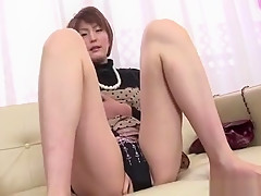 Two Guys Fondle Horny Asian Chick Sucking Her Milk Cans