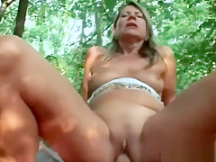Blonde Gilf Samantha Riding Cock Woods Cowgirl
