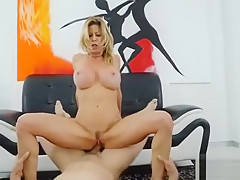 Busty Blonde MILF Gets Fucked on the Couch