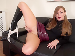 Gorgeous milf in boots upskirt joi