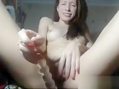 Brunette Sweetie Blowing Jerking