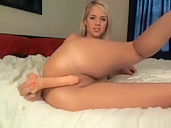 Teen Blonde Sucking And Inserting A Dildo