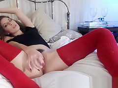 Audrey Red Thigh High Socks Chaturbate Show