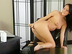 Gorgeous small titted MILF Sabrina Banks is playing herself