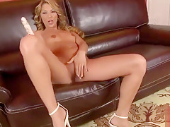 Snazzy shaved Joanne Sweet having a wonderful time by Masturbating