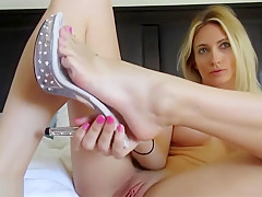 lick her feet while you fuck this horny blonde big tits girl in both holes