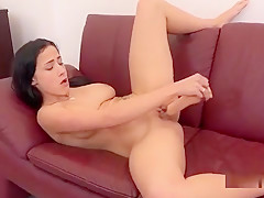 Charming Sweetie Is Pissing And Rubbing Shaven Muff