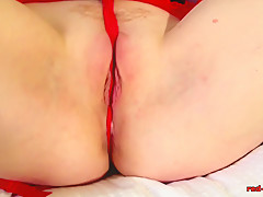 Panty stuffing and masturbating with mature Red XXX