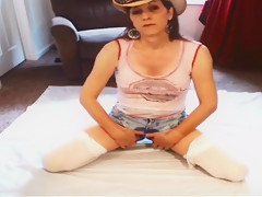 Mature milf whore bathes in her own piss on webcam.