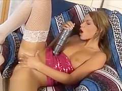 Gorgeous Russian Amateur Pussy Gaped By Big Brutal Dildo
