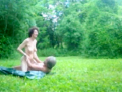 a runner passed in front of the naked couple