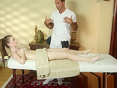 Lovely beauty deepthroats the masseur