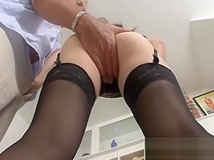 Lucky old guy plays with pretty French girl in stockings
