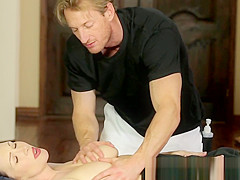 Busty massage babe pussyfucked by fat cock