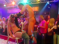 Male stripper gets a handjob on stage