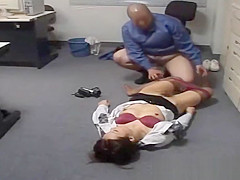 Businesswoman fucked by ugly fat janitor