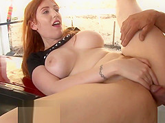Busty babe fucked while stepmom watching