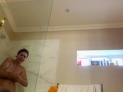Gorgeous hairy MILF on real hidden shower camera