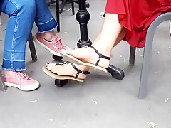 college girl sexy long feets hot toes in sandals