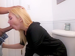 Blonde MILF stepmom surprised me with a sensual blowjob