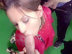 Babes sucking and anal in public restaurant