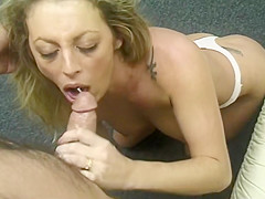 Attractive Blond Sucks Dick And Swallows Load