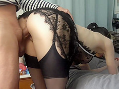 Hot French maid fantasy: Deepthroat BJ, Big tit wank, with Pussy Creampie