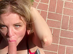 MILF in the yard fucks peeping neighbor - Erin Electra